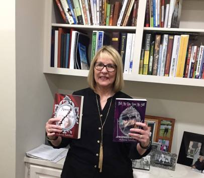 Betty Burkhalter with books